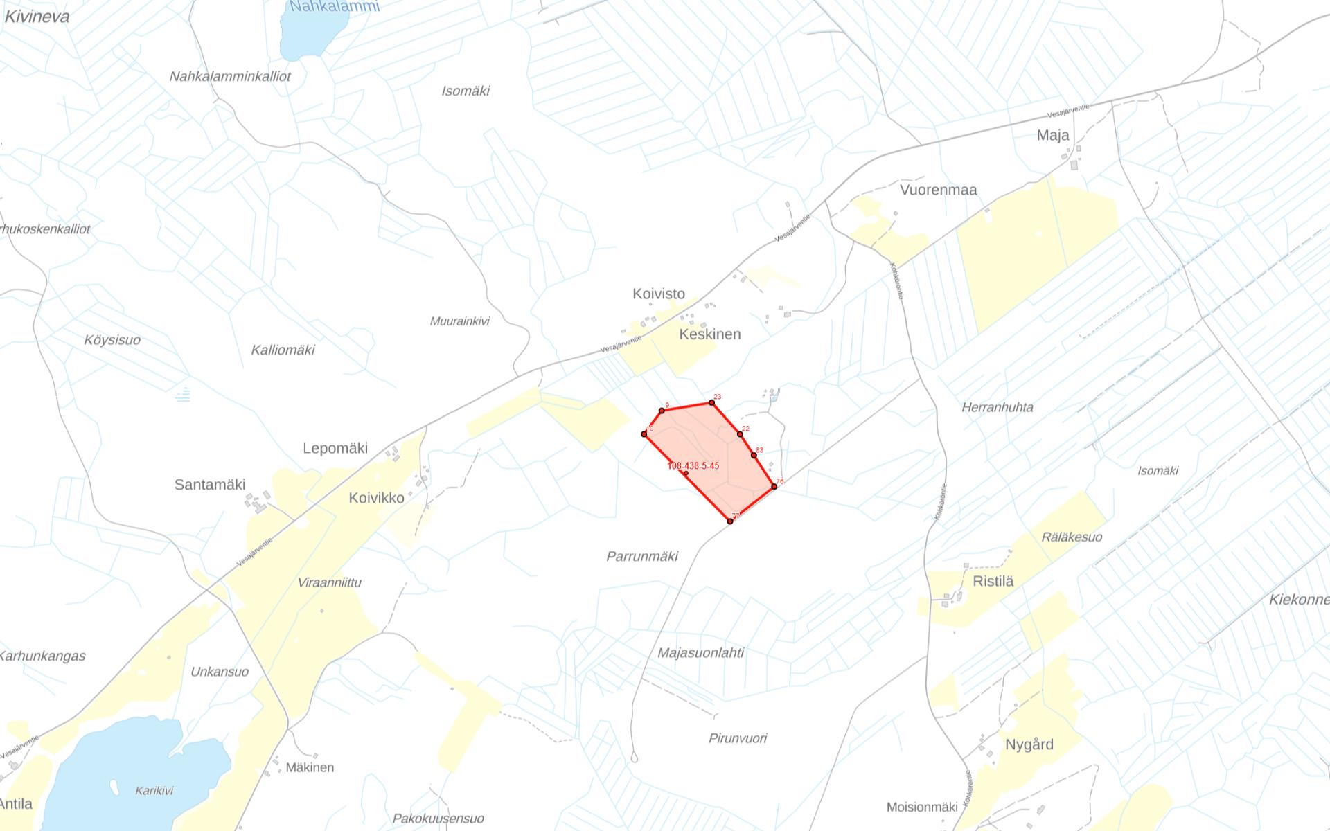 Kartta Hämeenkyrö Vesajärvi Metsola