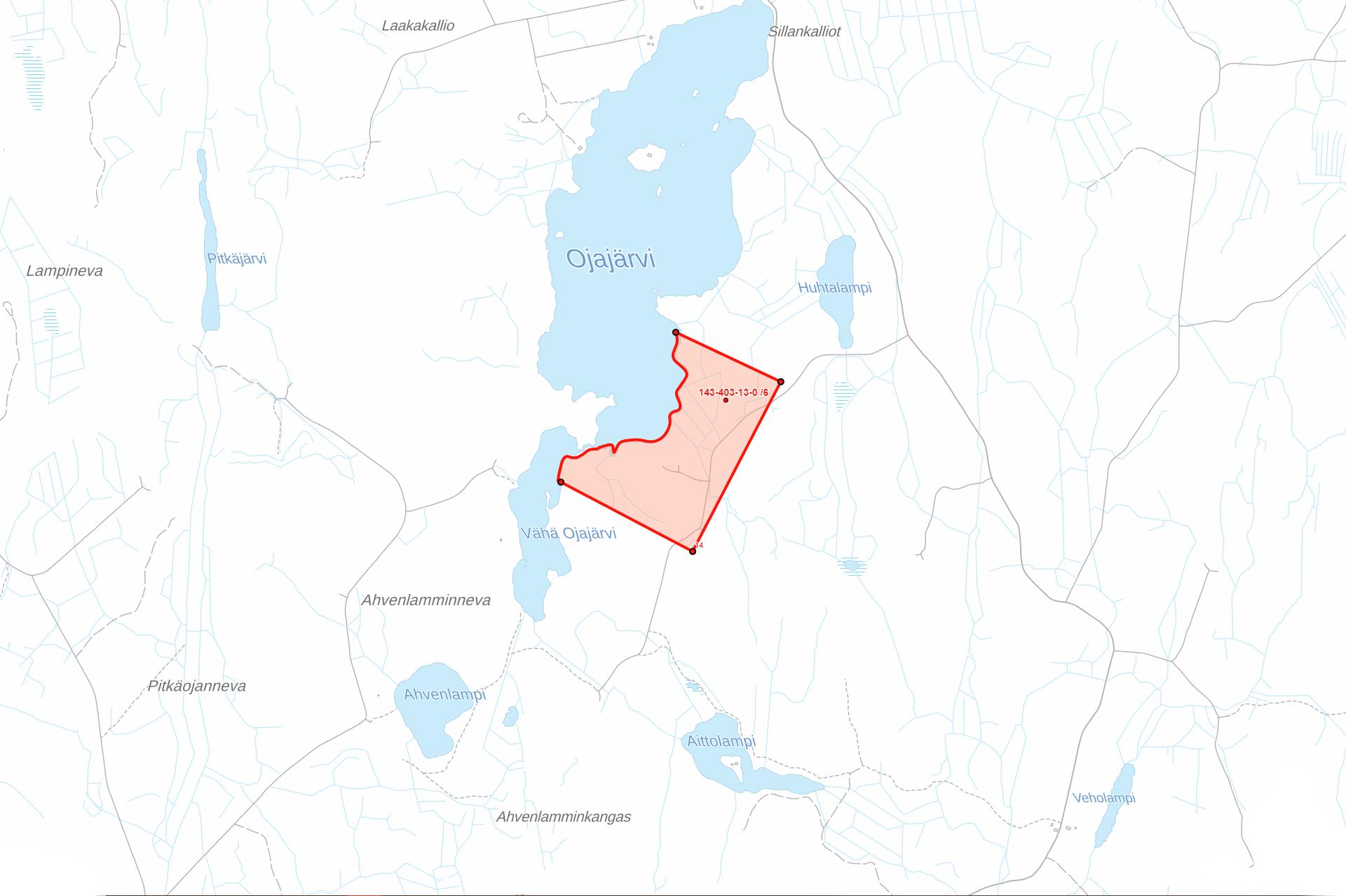 Kartta Ikaalinen Tevaniemi Ojajarvi
