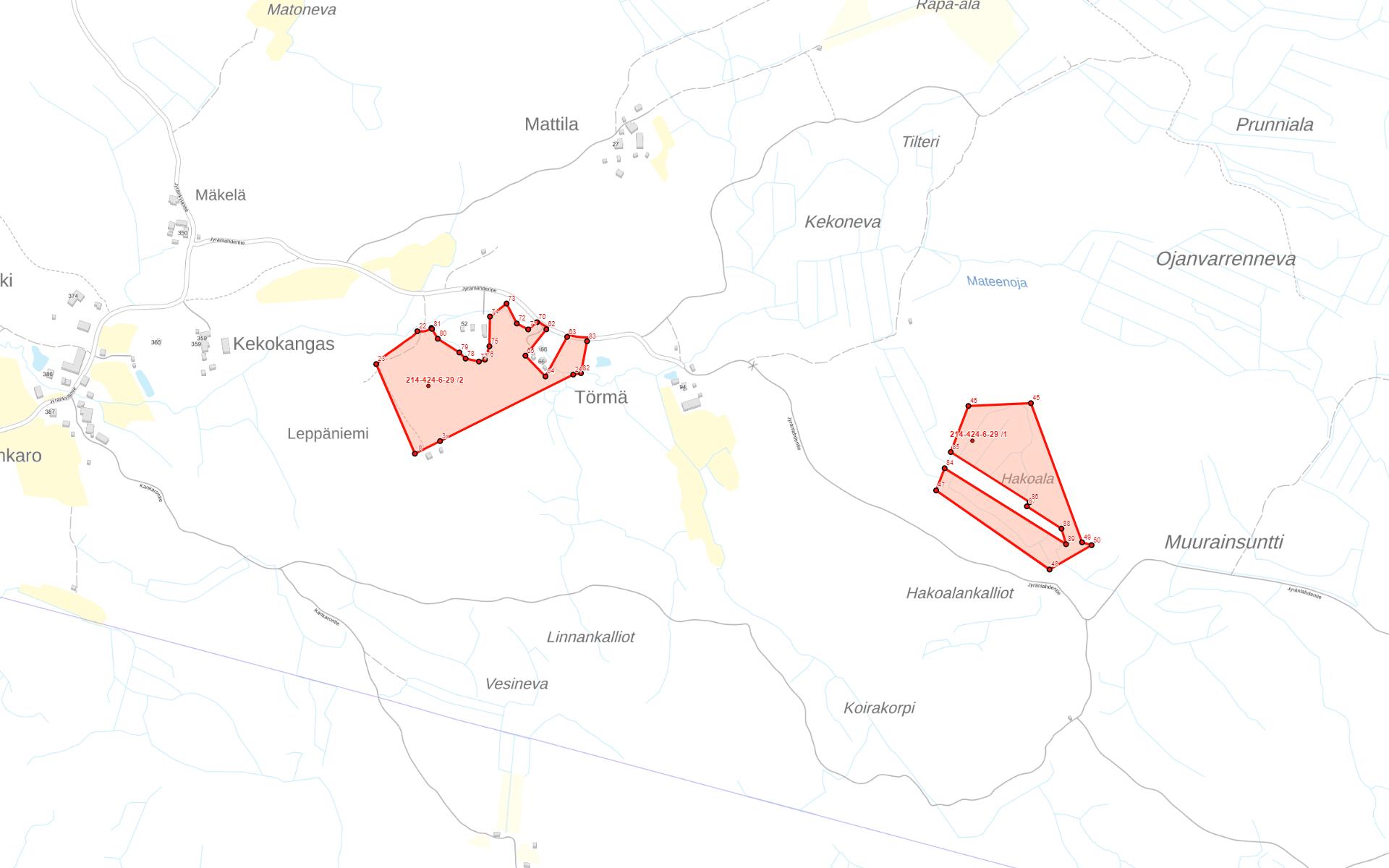 Kartta Kankaanpää Venesjärvi Jyränkylä
