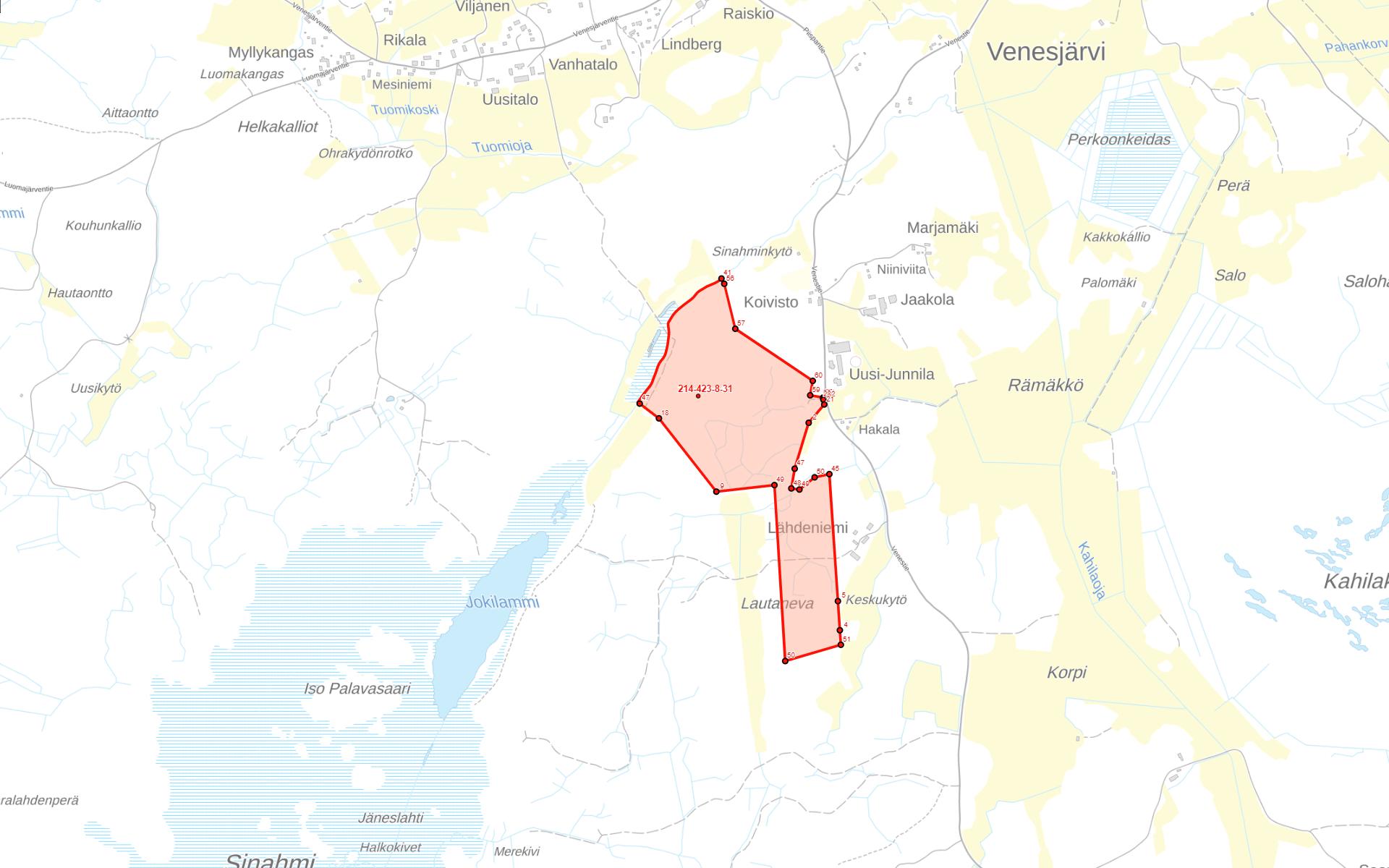 Kartta Kankaanpää Venesjärvi