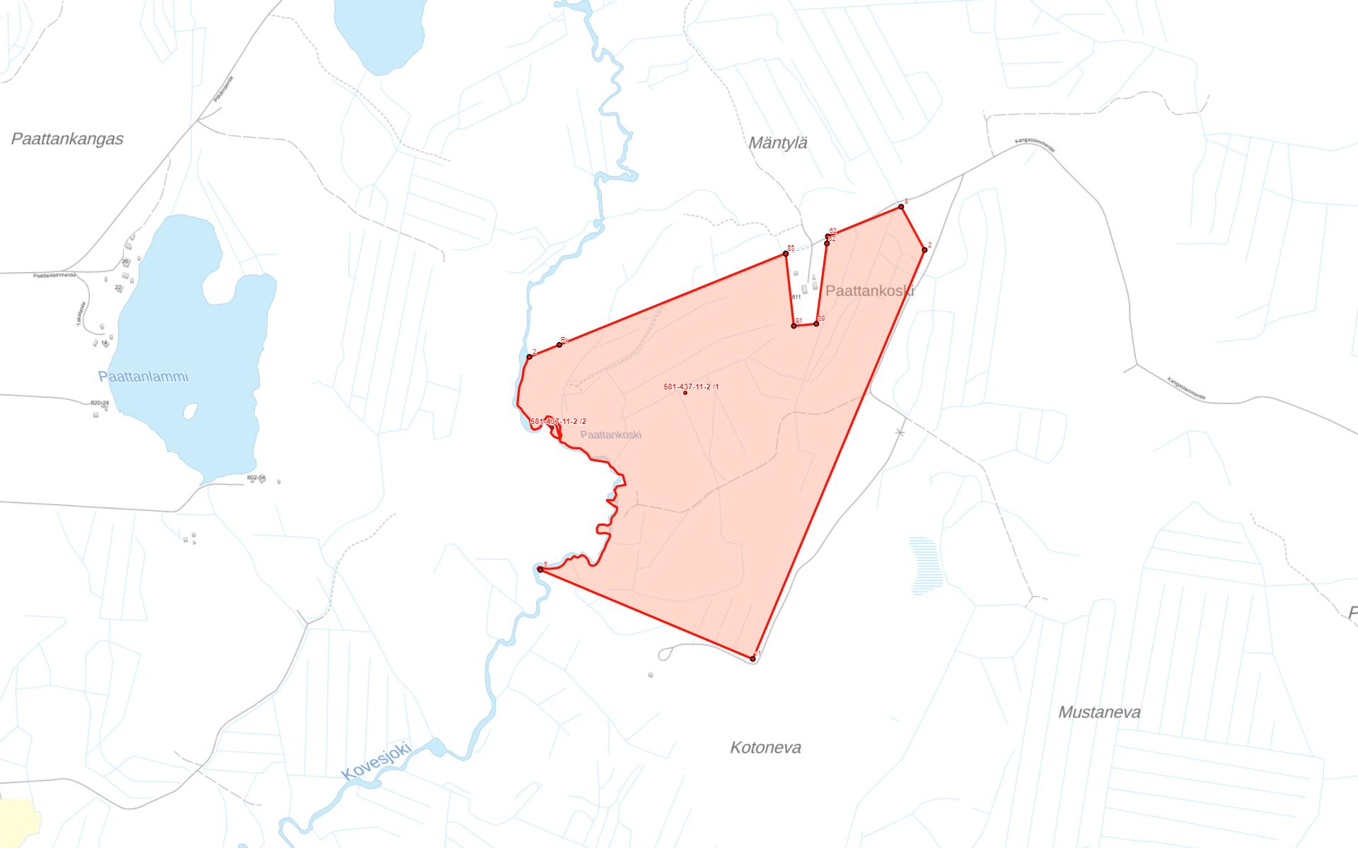 Parkano Koskenkylä kartta