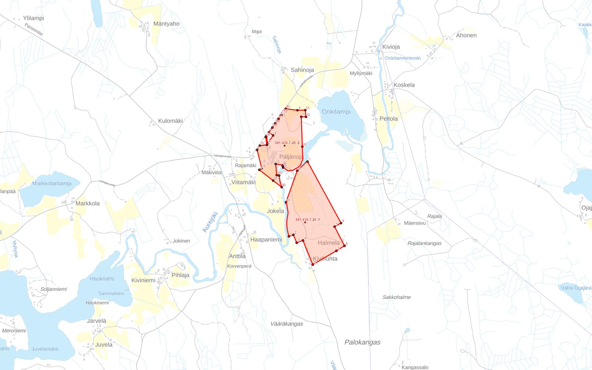 Parkano Vahojärvi Päljänoja kartta