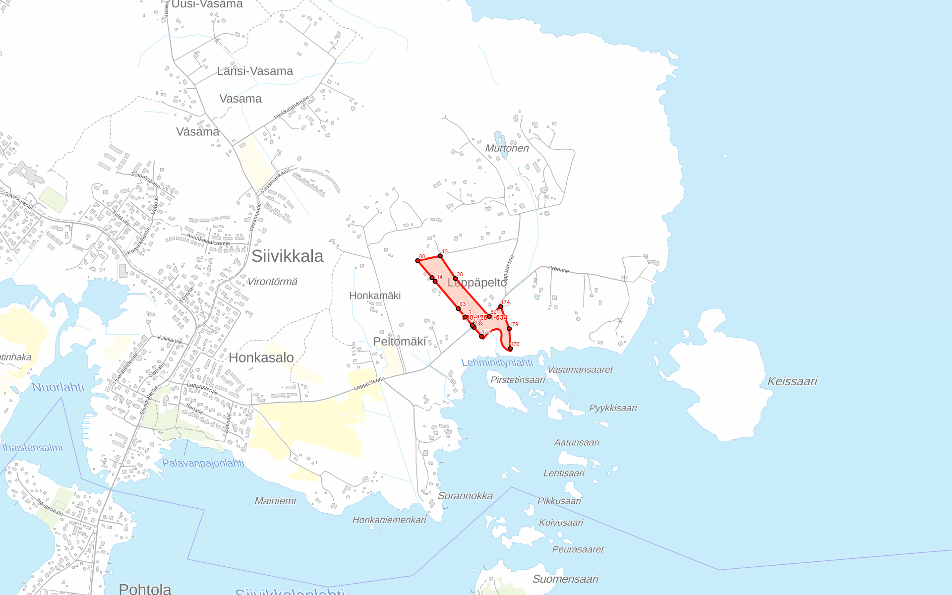 Kartta - Ylöjärvi Peksan pelto
